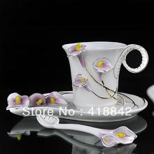Nice Violet Calla Coffee Set Tea Set 1Cup 1Saucer 1Spoon