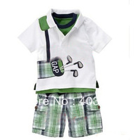 Free freight 5 pieces/lot wholesale boy cotton Short sleeve T-shirt&knickers Two suits, Children's shirts,kid T shirt