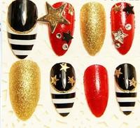 new western style Nightclubs charm woman metal shine false nail tips Free Shipping wholesale