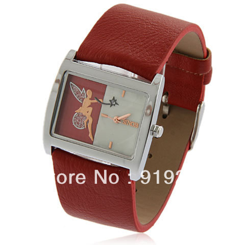 Chic Sinobi 9316 Rectangle Dial Strips Hour Marks Leather Wrist Watch with Angel Pattern for Women - Red(China (Mainland))