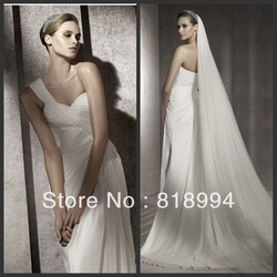 ED171 one shoulder chiffon A-line court train new style white wedding dress(China (Mainland))