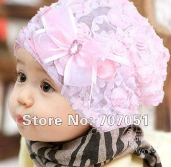 Baby hat bud silk flowers virgin spring summer autumn hat princess set new pile of pile cap head cap children cap silk hat