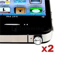 2 X CLEAR DIAMOND CRYSTAL DUST CAP PLUG 3.5mm HEADPHONE FOR IPHONE 4 4G 4S