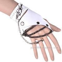 Free shipping Bundle fashion leather men and women gloves gothic gloves black white splice short design hip-hop gloves
