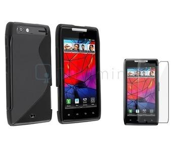 Black TPU Silicone Gel Case Cover+Protector For Motorola Droid Razr XT910 XT912
