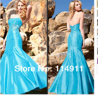 Wholesale - 2013 Best Selling Prom Dress Mermaid Strapless Beaded Floor Length Blue Party Dresses