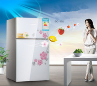 102L Energy saving and environmental protection Refrigerator High-end fashion two-door refrigerator Exquisite mini fridge