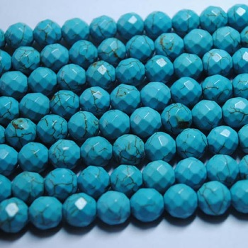 (190 Pieces/Lot),Blue Turquoise Beads,Faceted Round Ball Shape,Loose Turquoise Beads Accessories,Size: 10mm,Free Shipping !