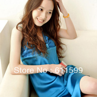 2013new fashion Sexy emulation silk pajamas Ruffles enchanting embroidered  nightgown Deep V-neck night skirt  Free shipping