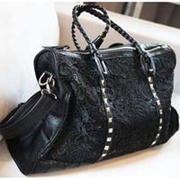 women motorcycle bag vintage bag knitted lace decor  women's fashion rivet black big ladies bags handbag