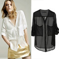 Women Collarless Button-front See-through Long Sleeve Chiffon Shirts Blouse Tops