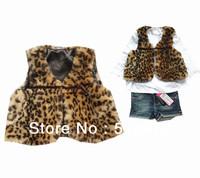 Best selling!! Winter Fashion Leopard Children Fur Vest lovely girls waistcoat kids outerwear free shipping