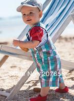 free shipping 5sets /lot  children clothing set baby wear baby boy clothes 2pcs suit  t-shirt+suspender plaid  pant