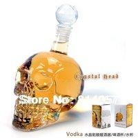40 PCS/Lot Fedex Free Shipping, Crystal Head Vodka Skull Bottle 350ML Glass Shot Head Skull for Red Wine Whiskey With Retail Box