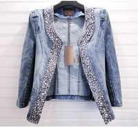 2013 autumn women's 43895 casual all-match water wash sparkling diamond handsome slim denim coat outerwear