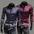 Free shipping!2013 New Mens fashion Casual Stylish fit Artificial Silk long sleeve dress shirts Size:M-L-XL-XXL,C54
