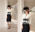 New Fashion Long Sleeve Jacket White And Black Lace Formal Mother Of The Bride Dresses DM061