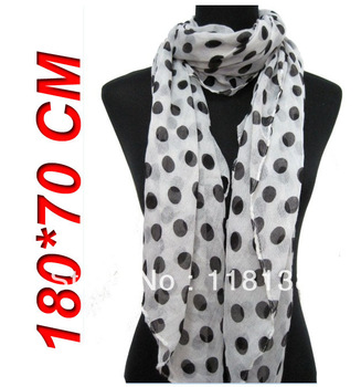 5pcs/lot New Style Fashion Big Polka Dots Women's Hijab Scarf Shawl Wrap 180*70cm, Free Shipping