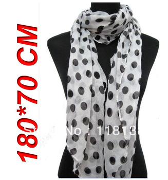 5pcs/lot New Style Fashion Big Polka Dots Women's Hijab Scarf Shawl Wrap 180*70cm, Free Shipping