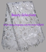 Nice handcut organza lace with many sequin africa lace fabric BCL00962 white  for retail and wholesale