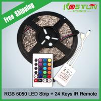 5M Waterproof SMD RGB 5050 LED Strip 300LED Flexible Strip Light + 24 Key IR Remote Free Shipping