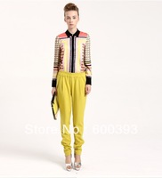 2013 newest free shipping geometric print  silk chiffon turn down collar full sleeve female shirts blouse
