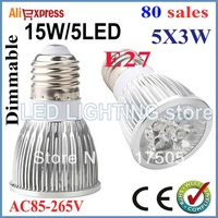 80pcs/lot Dimmable GU10 E27 MR16 15W High power LED Bulb Spotlight Downlight Lamp LED Lighting
