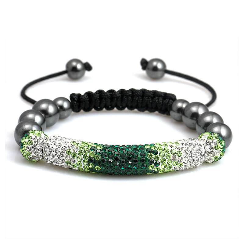 Premium Quality Shamballa Charm Long Crystals bracelets Balls vantage Jewelry Gradient Green (Yz8821)(China (Mainland))