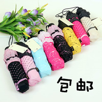 Free shipping South Korean princess lovely bowknot creative folding  lace umbrella