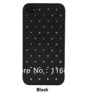 30PCS EMS Free shipping Grid Crystal Styled Protective Case For Phone 4 \4S (Assorted Colors)