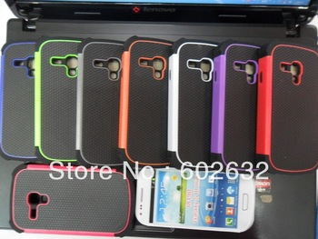 50pcs free shipping 3in1 Ball line PC+Silicon back cover case for Samsung i8190 Galaxy S3 III mini+1pcs film