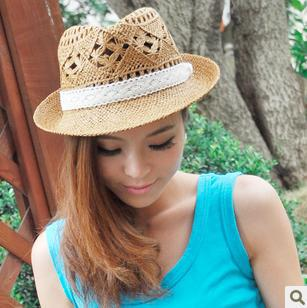 spring casual cowboy short brim floppy sun hat women of straw summer beach cap with lace decor cut out patterned new fashion(China (Mainland))