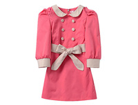 2013 Freeshipping Spring Summer Black Pink Khaki Children child Girl Kids Cute long sleeve dress clothes clothing PFCS41P10