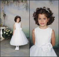 Beautiful charming jewel neckline sequin handmade flower a-line sash tiered flower girl dresses white sleeveless