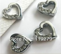 1pc 8mm Half Rhinestone Heart Slide Charms DIY charms Fit Pet Collars Wristbands Belts