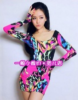 2013 spring and summer fashion big o-neck patchwork sexy neon color block racerback long-sleeve dress slim