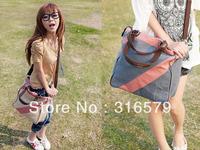 New splicing fashion leisure canvas bag zipper decoration shoulder bag aslant canvas female bag  Free Shipping