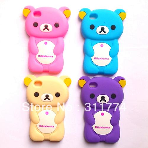 Silicone Rubber Rilakkuma Bear Case For Apple iPhone 4 4G 4S(China (Mainland))