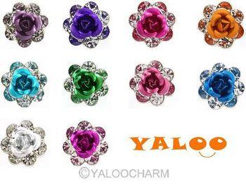 Fashion 60pcs Flower Stone Crystal Wedding Bridal Rose Hairpin Hair Clips Hair Accessories 60221 -60230