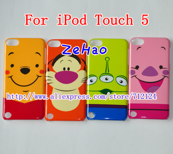 Cartoon Case For iPod Touch 5 Tigger Piglet Alien 3 Eyes Toy Story Plastic Hard Cute Back Case For itouch 5 ,DHL Free Shipping(China (Mainland))