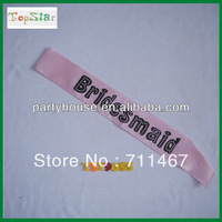 "free shipping Pink ""Brides Maid"" Lettering Sash 5pcs/lot"
