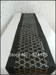 Free shipping 195 x 33cm black paillette table runner fashion brief placemat bed flag dining table runner fashion luxury(China (Mainland))