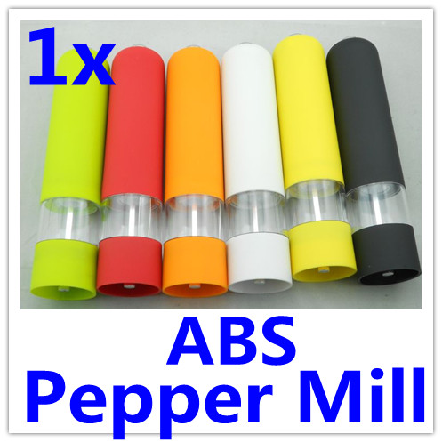 Kitchen Cooking ABS Electric Pepper Spice Salt Mill Grinder Muller with Light 6 colors IN STOCK 2pcs(China (Mainland))