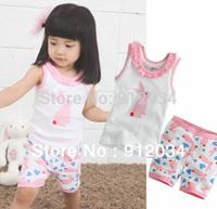 Hot sale children's summer sets sleeveless tshirt+printed pants girls clothing set fashion soft suit 1set for retail