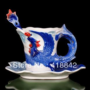 Blue Fire Phoenix Porcelain Coffee Set Tea Set 1Cup 1Saucer 1Spoon