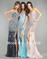 2013 Hot Sale Sheath Beaded Rhinestones Bodice Sweetheart Side Slit Tulle Sequin Dresses 4247