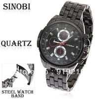 Sinobi Men's Wrist Watch with Waterproof Strips Indicate Time Quartz Dial Black Strainless Steel Watchband
