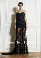 New Arrival Black Color Prom Dress Sweetheart Ruched Chiffon Boned Bodice Zuhair Murad Lace Evening Dress