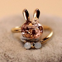 Min. Order $ 10 ( Can place mix order )! Trendy Korea Style Lovely Flash Drills Rabbit Rings.