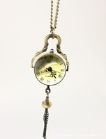 Steampunk Style Glass Ball Skeleton Pocket Watch Necklace Chain